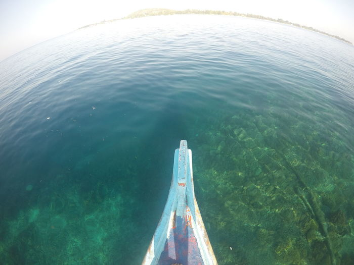 Adventure Beauty In Nature Day Fish-eye Lens High Angle View Inflatable  Mode Of Transportation Motion Nature Nautical Vessel No People Outdoors Rippled Scenics - Nature Sea Sky Tranquility Transportation Turquoise Colored Underwater Water