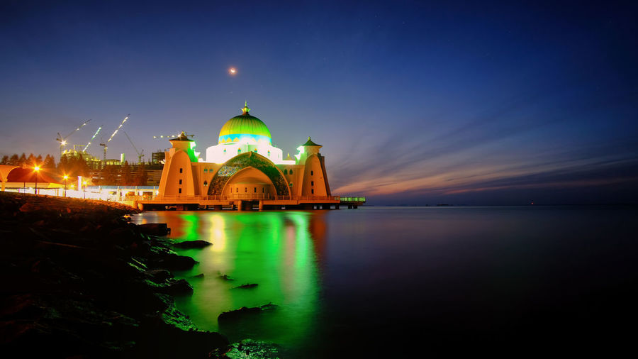Amazing sunset at The Straits Mosque of Malacca Masjid Selat Long Exposure Casa Nayafan Straits Mosque Landscape Malacca Tourism Casa Nayafana Sunset Sunrise Holiday Vacations Islam Muslim Smooth Water Billboards Canvas Printing Wallpaper Malacca,malaysia Vibrant Color Skyscape Tranquility Twilight Arts