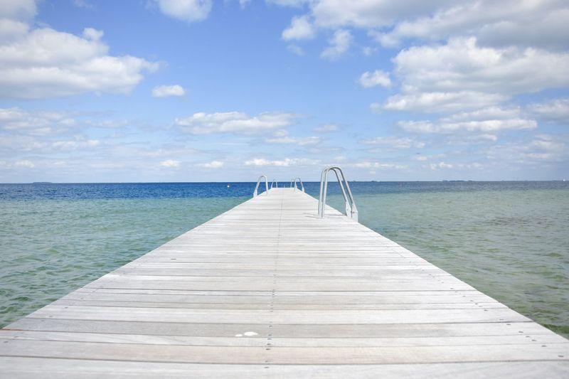 Beauty In Nature Boardwalk Denmark Ocean Pier Sea The Way Forward Water Wood - Material