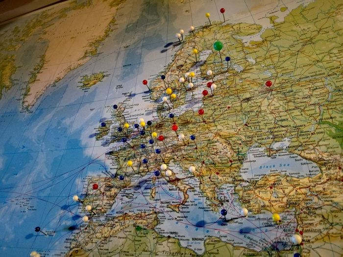 Still a lot of places to go. Map World Europe Travelling Travel Destinations Multi Colored Close-up No People Needel Indoors