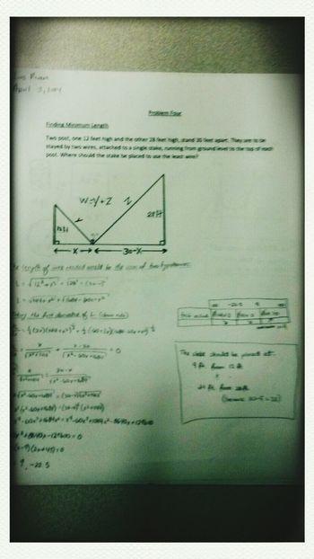 I had fun like, Whoa :-) Optimization Math Fun Homework #algebra #hypotenuse #firstderivativetest #derivatives #wordproblem