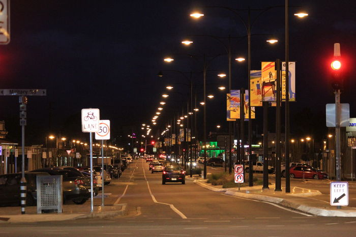 Illuminated Night Transportation City Car Street Street Light Architecture Land Vehicle Built Structure Road Building Exterior Mode Of Transport City Life On The Move Traffic Travel Destinations City Street Outdoors Semaphore. South Australia, Adelaide