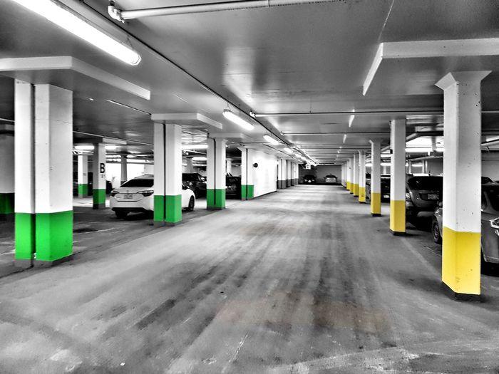 Built Structure Parking Lot Transportation Architectural Column Ceiling Indoors  No People Architecture Parking Garage Basement