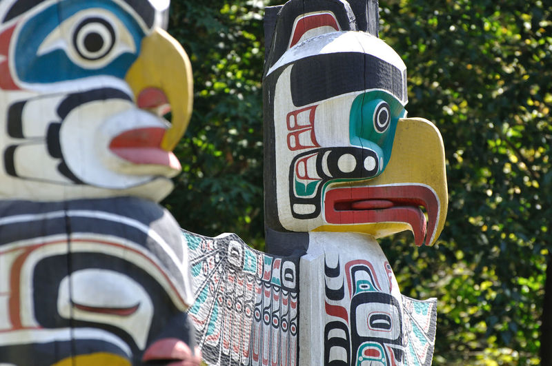 Close Up Of Totem Poles