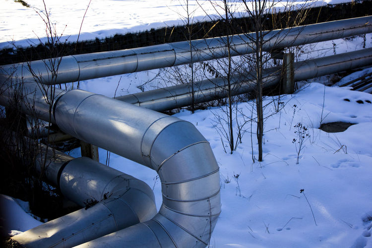 EyeEmNewHere Cold Temperature Day Factory Industry Nature No People Outdoors Pipe - Tube Snow Winter