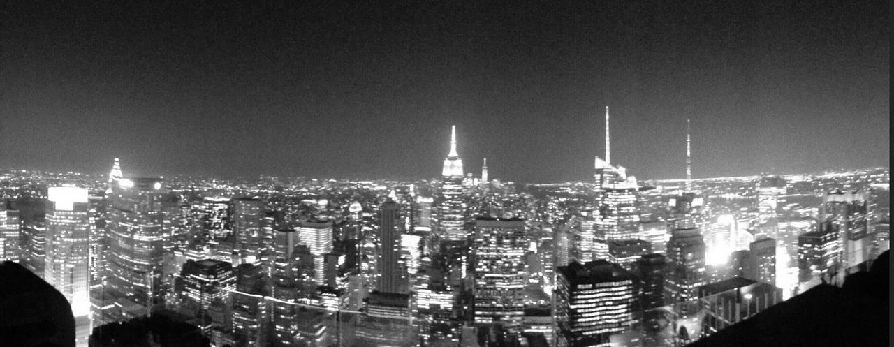 Black And White New York City Skyline Empire State Building City Night Lights New York At Night Panoramic I Heart New York