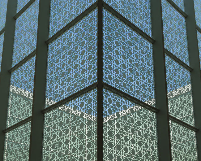 Architectural detail of the courtyard of the Aga Khan Museum, North York, Toronto, Ontario, Canada Architecture Canadian Ontario Toronto York Aga Architecture Art Blue Building Canada Courtyard  Day Detail Indoors  Khan Landmark Museum North Pattern Sky Textured  Window