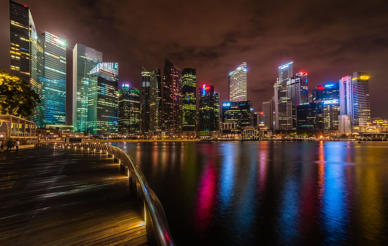 urban area at night Architecture Bridge - Man Made Structure Building Exterior Building Story Built Structure City City Life Cityscape Curve Footbridge Growth Illuminated Modern Multi Colored Night Office Building Reflection Singapore Skyscraper Tall - High Urban Urban Skyline Walkway Water Waterfront