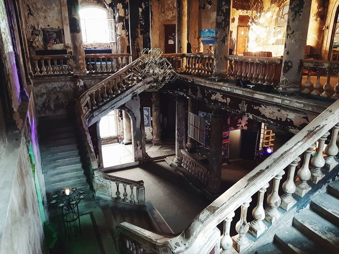High angle view of staircase in old building