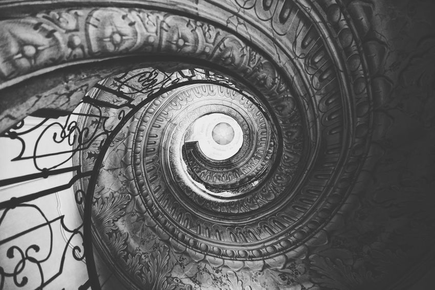 Austria Photos Spiral Staircase Spiral Stairways Bnw Lookingup Look Up And Thrive Taking Photos Bnw_life Blackandwhite Black And White Light And Shadow Architecture Historic Site Ceiling Lights Streamzoofamily The Architect - 2017 EyeEm Awards The Great Outdoors - 2017 EyeEm Awards