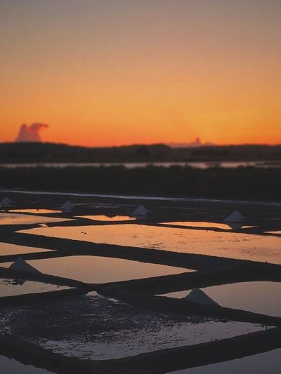 Marais salants d'Olone Sunset Scenics Beauty In Nature Nature Tranquil Scene Tranquility Water No People Salt - Mineral Outdoors Sky Landscape Salt Flat Sea Salt Basin Day EyeEmNewHere Reflection