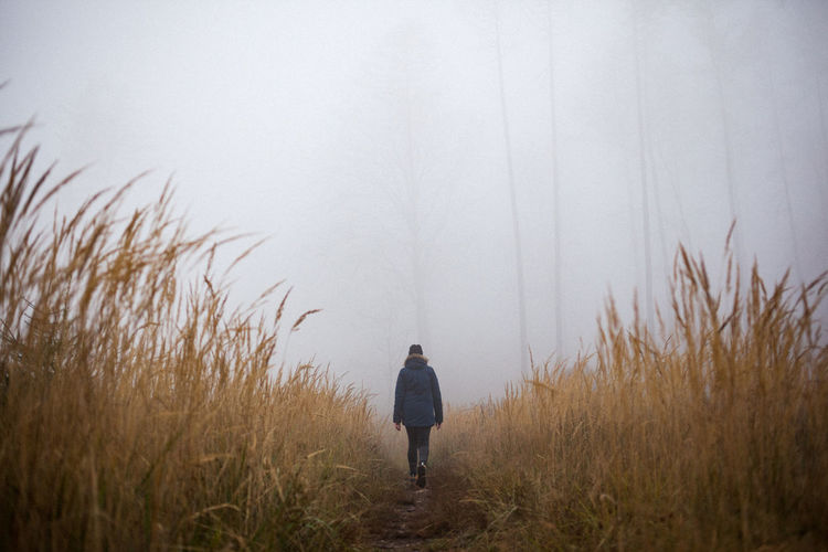 Rear view of woman walking at forest during foggy weather