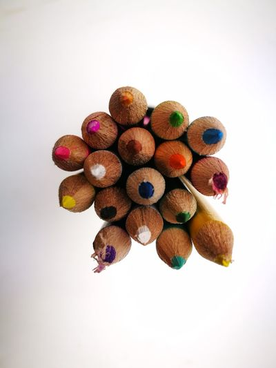 EyeEm Selects White Background Multi Colored Variation Close-up Day Wood - Material Pencil Pencil Shavings No People School Macro Photography View From Above Colored Pencil Back To School Indoors