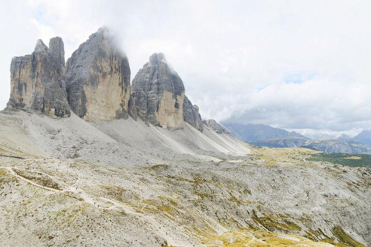 Scenic view of tre cime di lavaredo against sky