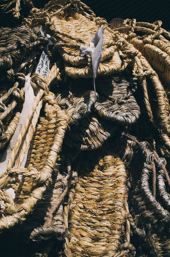 High angle view of ropes on wood