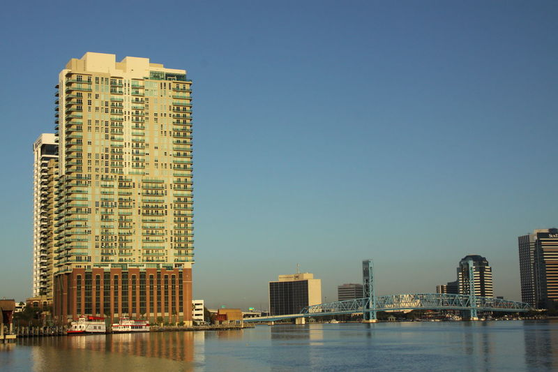 Jacksonville Florida St. Johns River Early Mornings Peaceful View Main Street Bridge EyeEm Selects City Cityscape Urban Skyline Modern Skyscraper Downtown District Clear Sky Development Business Finance And Industry Tower