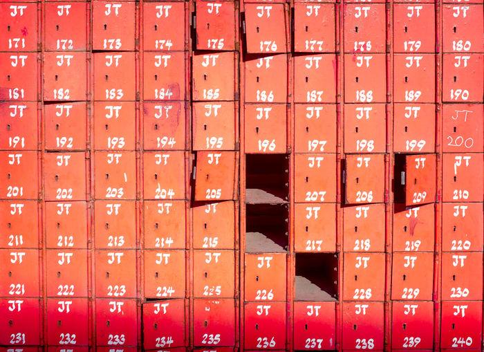 Full Frame Shot Of Red Lockers