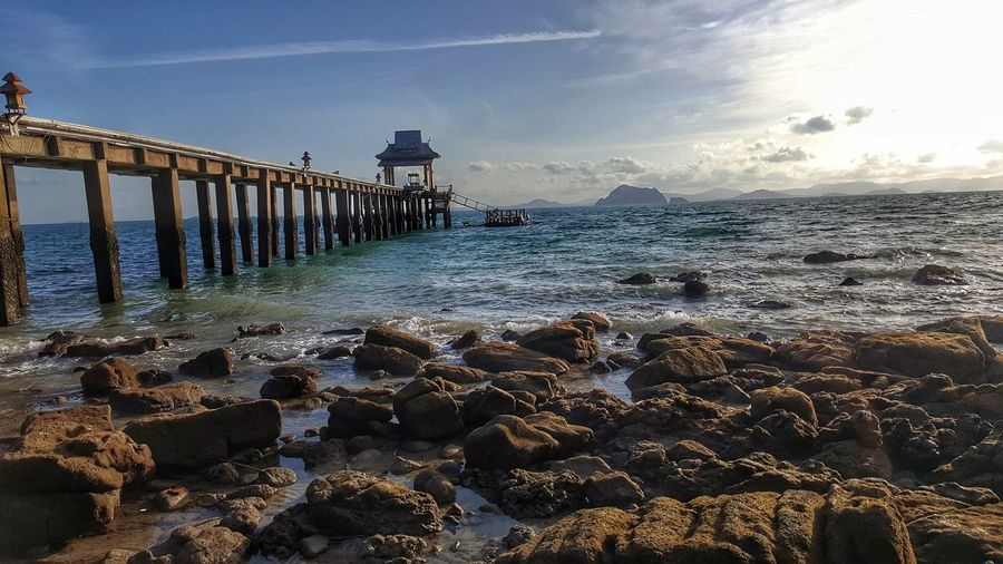bridge to beauty Water Sea Beach Low Tide Wave Sunset Sand Sunlight Sky Horizon Over Water Tide Seascape Coastline Rocky Coastline Sandy Beach Shore Pier Ocean Coast Surf Headland Calm Coastal Feature
