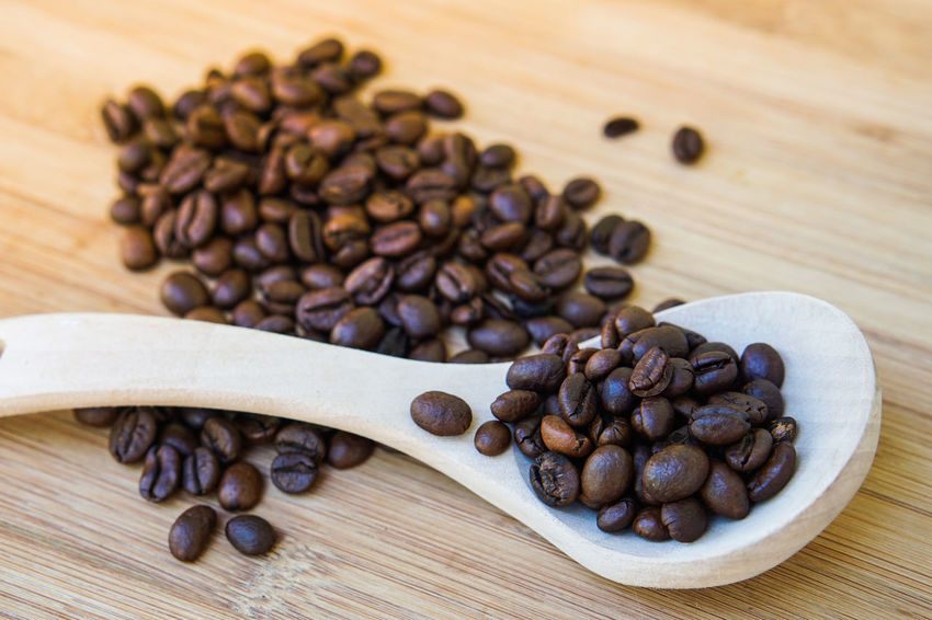 Black Peppercorn Brown Close-up Coffee Bean Day Food Food And Drink Freshness Group Of Objects Indoors  Large Group Of Objects No People Raw Coffee Bean Roasted Coffee Bean Still Life Table Wood - Material Wooden Spoon
