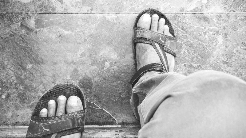 Foot. Steps. Footwear Feet Stories Footwears Feet And Shoes Stairs One Step At A Time Steps And Staircases Step By Step Footwear Of The Day  Light And Shadows Black And White Black And White Photography Life In Black And White Black&white Sandals Puma Sandal Time! Black & White
