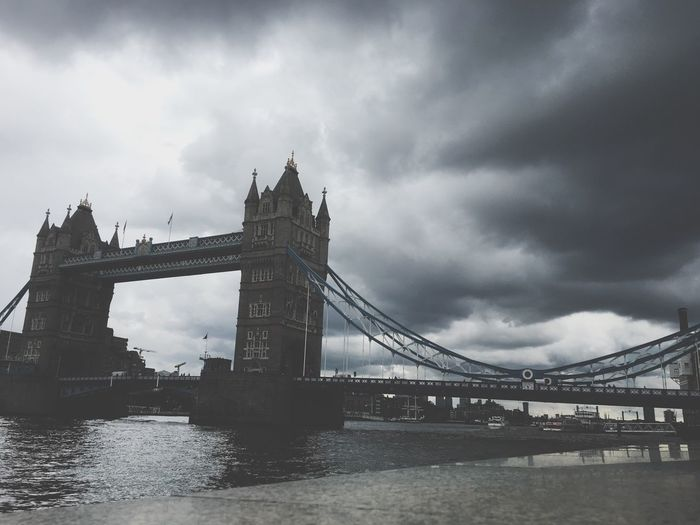 Low Angle View Of Tower Bridge Against Cloudy Sky