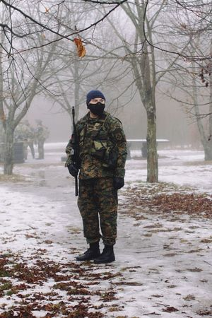 Lonely soldier. Shot with Canon 7D Mark II. Winter Cold Temperature Snow Military Military Uniform Men Standing Camouflage Clothing Canon7d  Canon DSLR Airsoftteam Kalashnikov Airsoft Photography Russian Airsoft Weapon Rifle Armed Forces Gun Foggy Morning Outdoors Army Soldier Nature