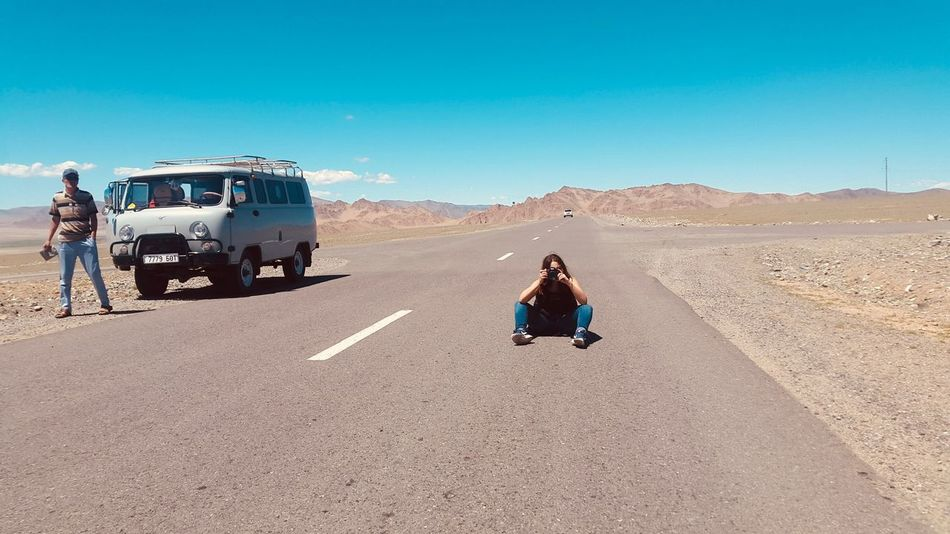 On the road Mongolia 😍 Aventure Traveling Travel Photography Photooftheday Photographer Photographe En Herbe Pictures Pictureoftheday Picoftheday Pic Photoshoot Photography Photo Mongolia Transportation Mode Of Transportation Road Land Vehicle Sky Sunlight Nature Day People Real People Travel