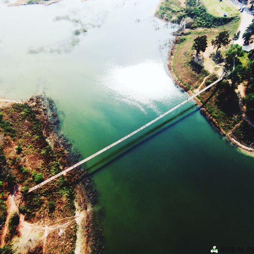Old discontinued rope bridge in Kaeng Krachan. shot with phantom 2v+ Tree Water Nature Reflection Beauty In Nature Transportation High Angle View Scenics Day No People River Sky Nautical Vessel Tranquility Outdoors Reservoir