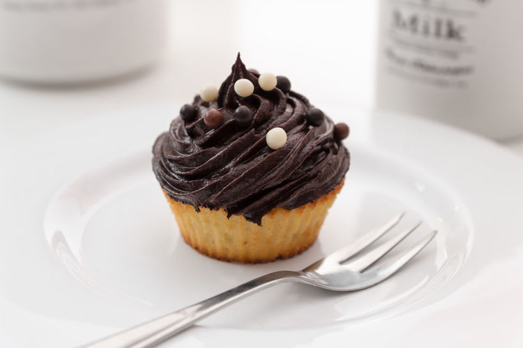 Close-Up Of Cupcake Served On Plate