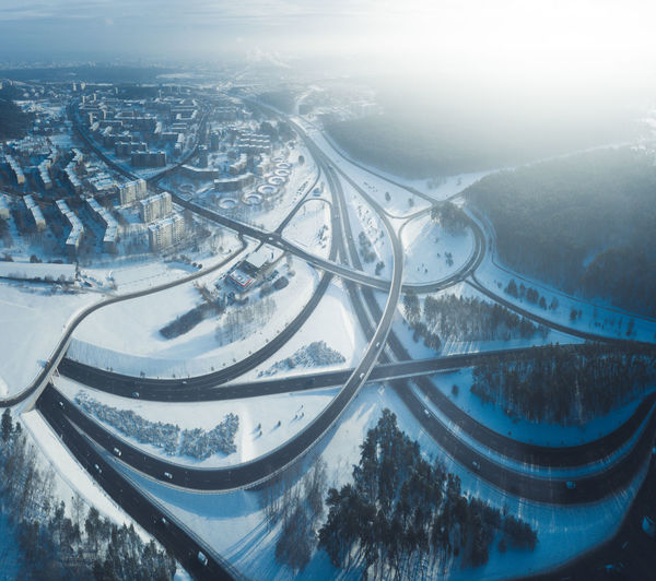 Highway junction intersection in winter, aerial view, Vilnius, Lithuania Highway Highways&Freeways Freeway Interstate Road Intersection Junction Interchange  Bridge - Man Made Structure Bridge Cold Temperature Frozen Freeze Snow White Vilnius Lithuania Lietuva Traffic Aerial View Arctic Transportation Season  City Winter View Panorama