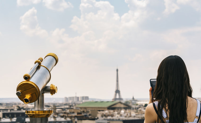 Tourist telescope with view of the paris skyline with eiffel tower in paris Architecture City Cityscape Eiffel Tower Famous Love Paris Paris, France  Skyline Tourist View Woman Arial View Clouds Clouds And Sky Eiffel Eiffeltower Europe French Girl People Photography Smart Phone Telescope Tourism