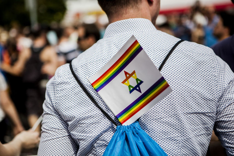 Pride Festival Berlin Berlin Casual Clothing Close-up Day Flag Focus On Foreground Israel Leisure Activity Lifestyles Midsection Multi Colored Part Of Selective Focus Skill