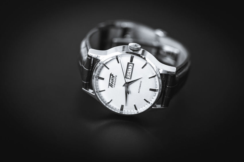 Tissot visodate heritage collection Tissot Luxurywatch Swisswatch Blankandwhite Coloured Productphotography Watchphotography Automaticwatch Tissotheritagevisodate Visodate Tissotheritagecollection Heritage Heritagecollection Luxury Watch Brown Band Black Time Minute Hand Accuracy
