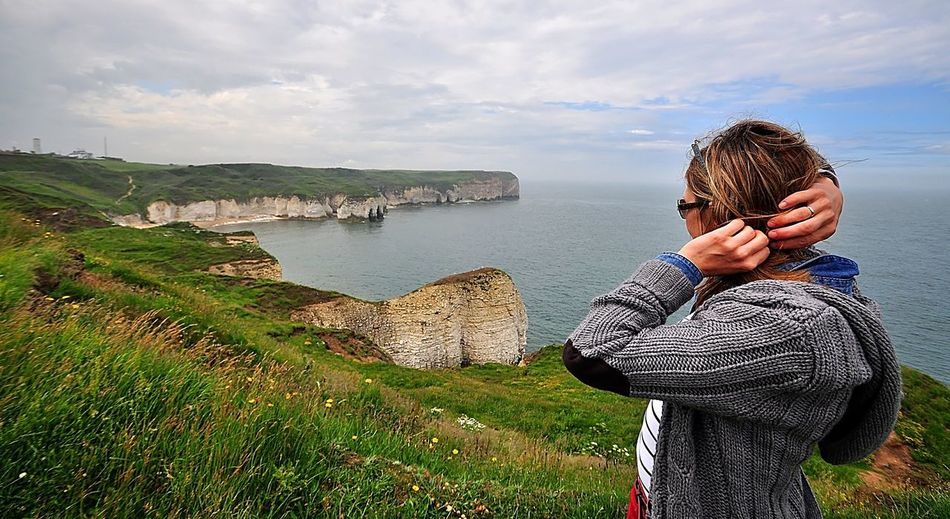 Cliff White Cliffs  Water Real People Leisure Activity One Person Lifestyles Beauty In Nature Sky Cloud - Sky Nature Standing Young Adult Scenics - Nature Young Women Women Waist Up Day