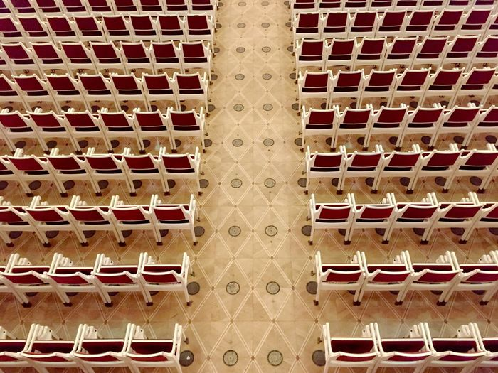 High angle view of arranged chairs
