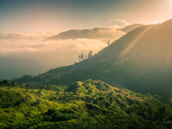 Sunrise over blue mountains