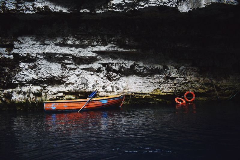 Water No People Waterfront Nautical Vessel Day Outdoors Nature Melissani Melissanilake Nature Summer Beauty In Nature EyeEm Travel Travel Destinations EyeEm Nature Lover Natural Arch Adventure Photooftheday