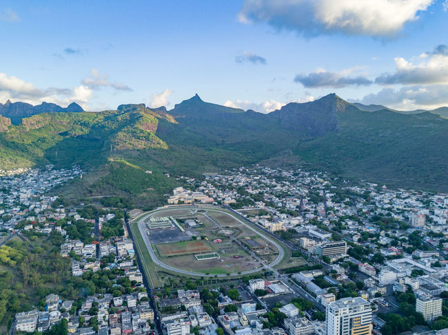 Champ des Mars Mauritius Mountains Race Course Horse Racing Mauritius Champ Des Mars EyeEm Selects Aerial View High Angle View Architecture City Cityscape Day Road Mountain Sky Travel Destinations Scenics Urban Skyline