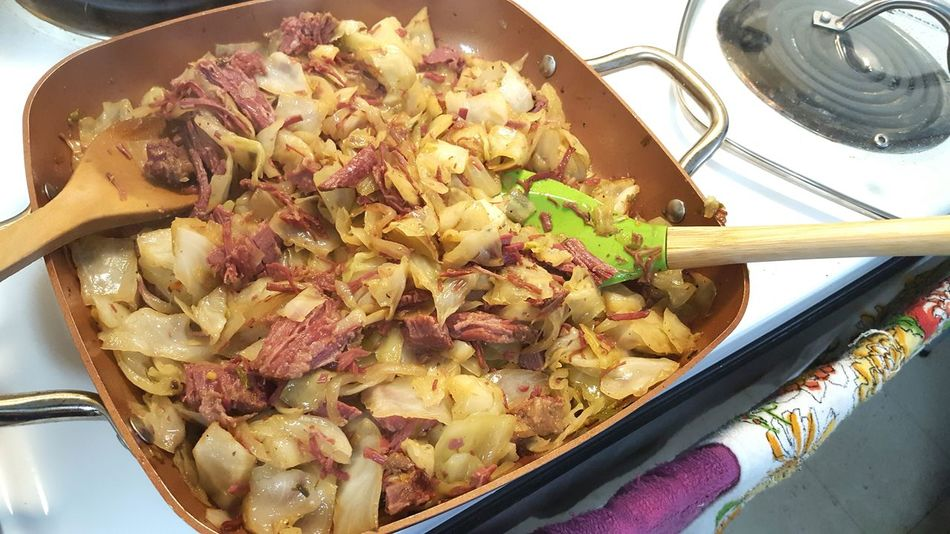 Dinner Time Cabbage Cooked Cabidge And Meat Cornbeef And Cabage Good Food Delicious Hot Meal High Angle View Close-up Food And Drink Prepared Food Pan