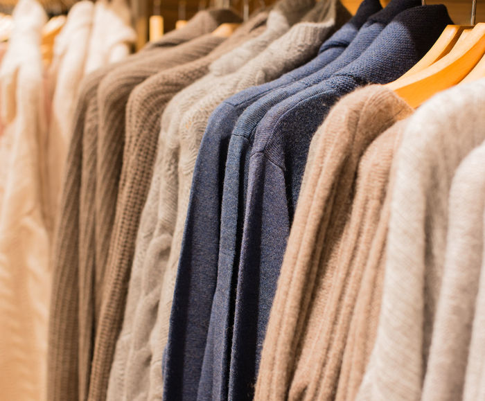 Colorful cashmere sweater on a clothes rack Boutique Business Clothes Stand Colours Department Store Fashion Hanger Buy Cashmere Cashmere Pullovers Clothes Clothing Clothing Store Knitwear Knitwear Sales Ladies' Fashions Ladies' Pullovers Retail Trade Sales Snugly Softy Warmly Winters Wool