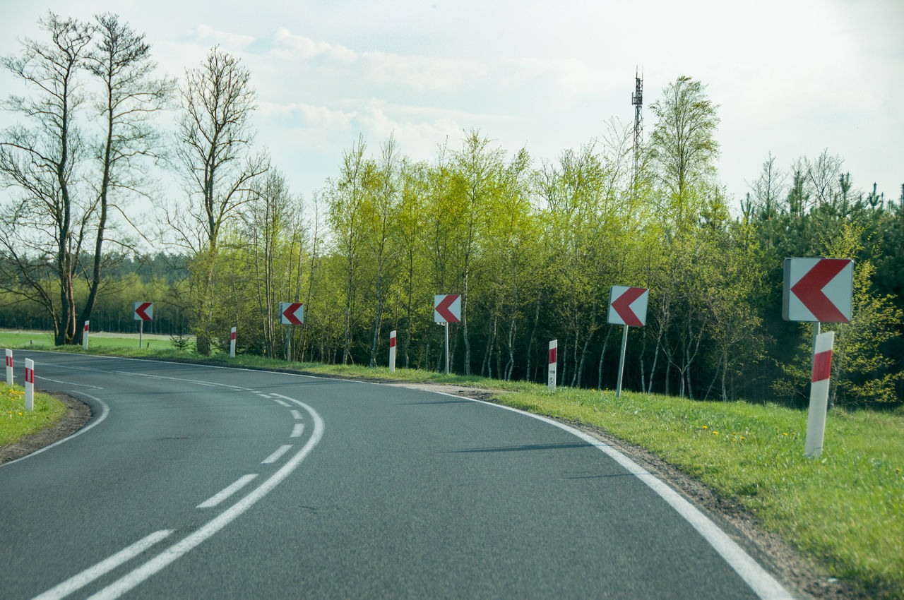tree, day, flag, road, growth, transportation, nature, sky, grass, green color, outdoors, no people, beauty in nature, road sign