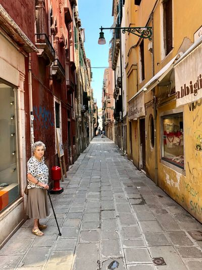Venice... Architecture Building Exterior Direction The Way Forward Built Structure City Street Building Men One Person Incidental People Diminishing Perspective Real People Footpath Full Length Women Outdoors Lifestyles Day Alley