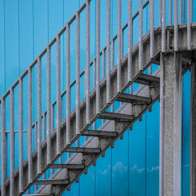 Stairway Blues Architecture Blue Building Exterior Built Structure Day Diagonal Low Angle View Minimal No People Outdoors Staircase Steel Urban Geometry The City Light Minimalist Architecture Minimalz