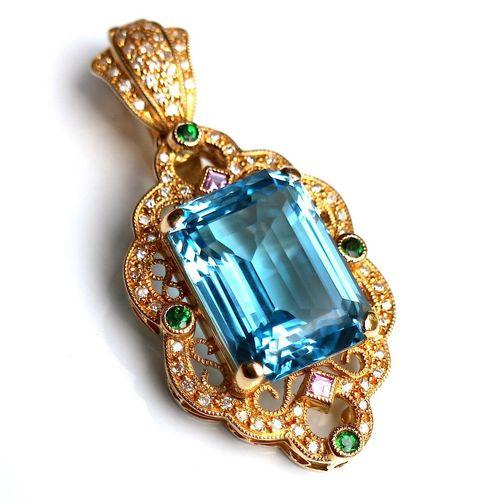 Necklace Accessoires Blue Topaz Diamond Diamonds Topaz Gold