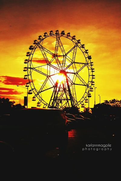Ferris Wheel Sunset Amusement Park