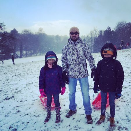 Son And Daughter Amelia Miah Adam Miah Winter Family Father Snow Cold Temperature Warm Clothing Childhood