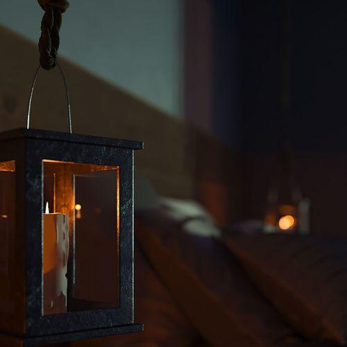 Close-up of illuminated lamp in building
