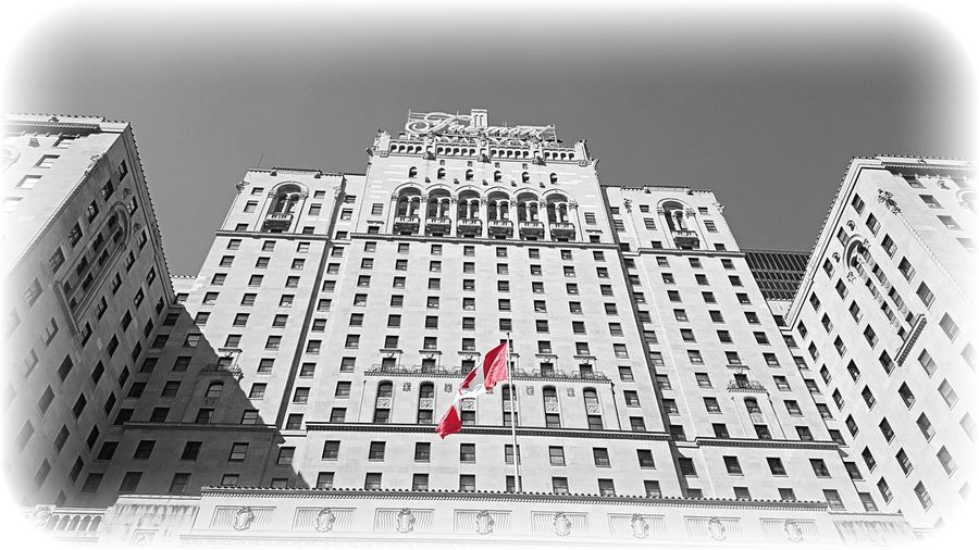 Just a day enjoying Toronto Canada Flag Hotel Lookingup EyeEm Best Shots Blackandwhite Photography Colorsplash Streetphotography