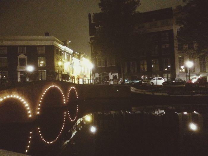 Reflection Water Amsterdam Night