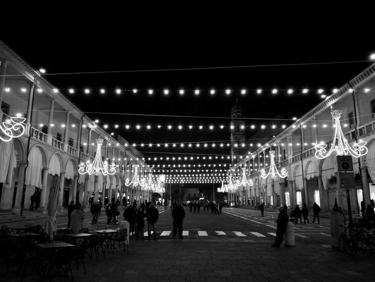 Prospective Blackandwhite Luminarie Piazza Architecture Nightphotography Night Lights Colonnade People Illuminated Arts Culture And Entertainment Exterior Tall Residential Structure Entertainment Tent Live Event